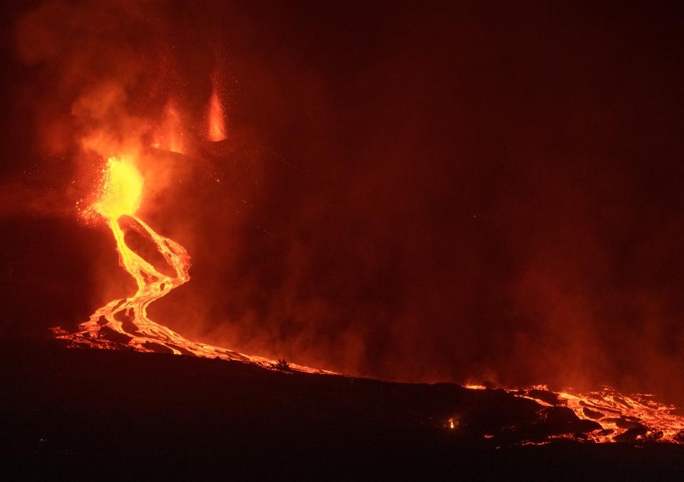 Lava flows from a volcano on La Palma