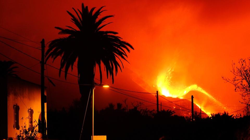 La Palma volcano spewing lava