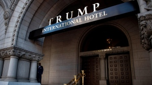 Former U.S. President Donald Trump's company is in advanced talks to sell the lease for its marquee hotel in Washington, DC, for more than $370 million, according to a person familiar with the matter. (Gabriella Demczuk/Getty Images)