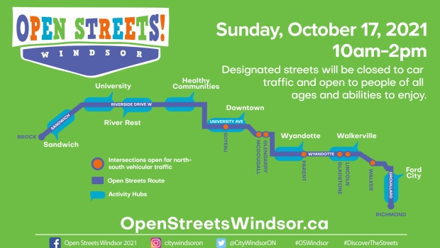 Open Streets Windsor 2021 Route Map (Courtesy City of Windsor)