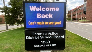 The Thames Valley District School Board offices in London, Ont. are seen on Tuesday, Oct. 12, 2021. (Jim Knight / CTV News)