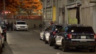 Montreal police investigate a stabbing near de Maisonneuve Blvd. and Visitation St. that sent a 46-year-old man to hospital in critical condition on Tuesday, Oct. 12, 2021. He succumbed to his injuries two days later. (Cosmo Santamaria/CTV News)
