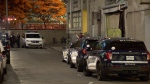 Montreal police investigate a stabbing near the intersection of Saint-Antoine West and Clark streets that sent a 46-year-old man to hospital in critical condition on Tuesday, Oct. 12, 2021. He succumbed to his injuries two days later. (Cosmo Santamaria/CTV News)