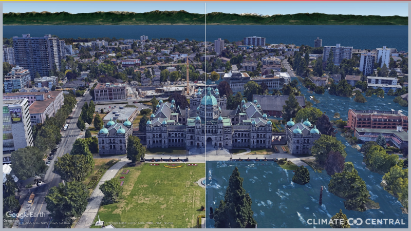The Legislative Assembly of British Columbia is seen in this climate change visualization. (Courtesy Climate Central)