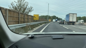 Thames Valley Road Policing says the rather obscure sign, at Junction 5 of the M4 near the town of Slough, will not lead fans to the popular series 'Squid Game.' (TVP Roads Policing/Twitter)