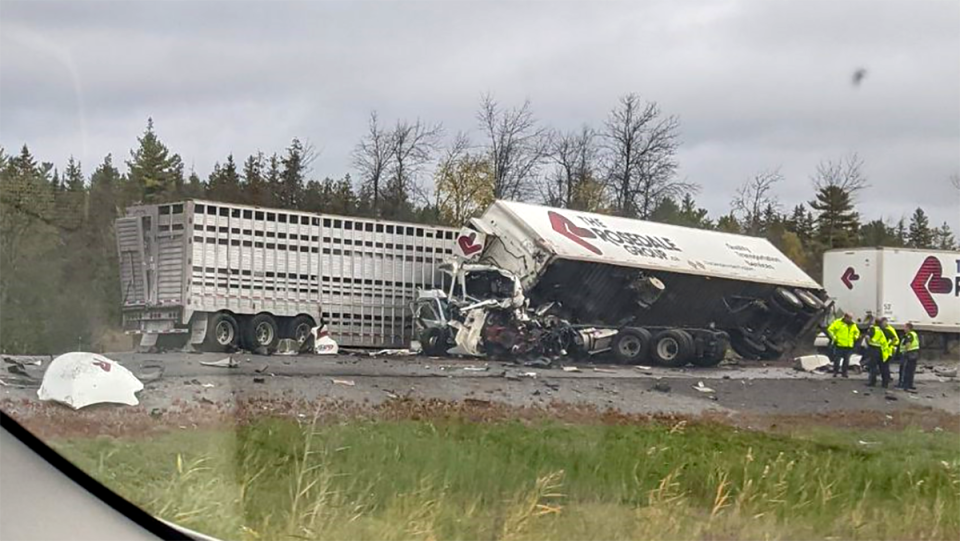 Tractor trailer crash Kingston