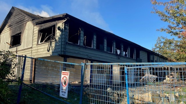 The fire at 2197 Otter Point Rd. was called in by a passerby around 5:25 a.m. (CTV News)