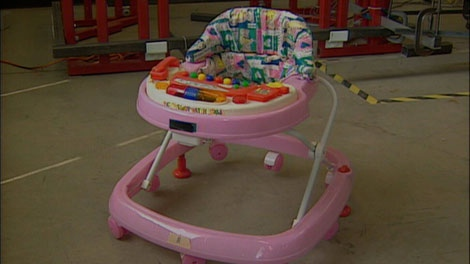 Baby walkers may look like fun but they are banned because of the danger they pose to young children.