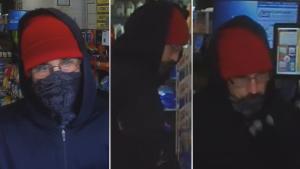 Ottawa police are asking for help identifying a man suspected of robbing businesses in Centretown and Hintonburg at knifepoint on Saturday, Oct. 9, 2021. (Photos submitted by the Ottawa Police Service)