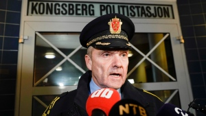 Police Chief Oeying Aas, head of the operations unit in the Buskerud police, speaks at a press conference after an attack in Kongsberg, Norway, Wednesday, Oct. 13, 2021. (Terje Pedersen/NTB via AP)