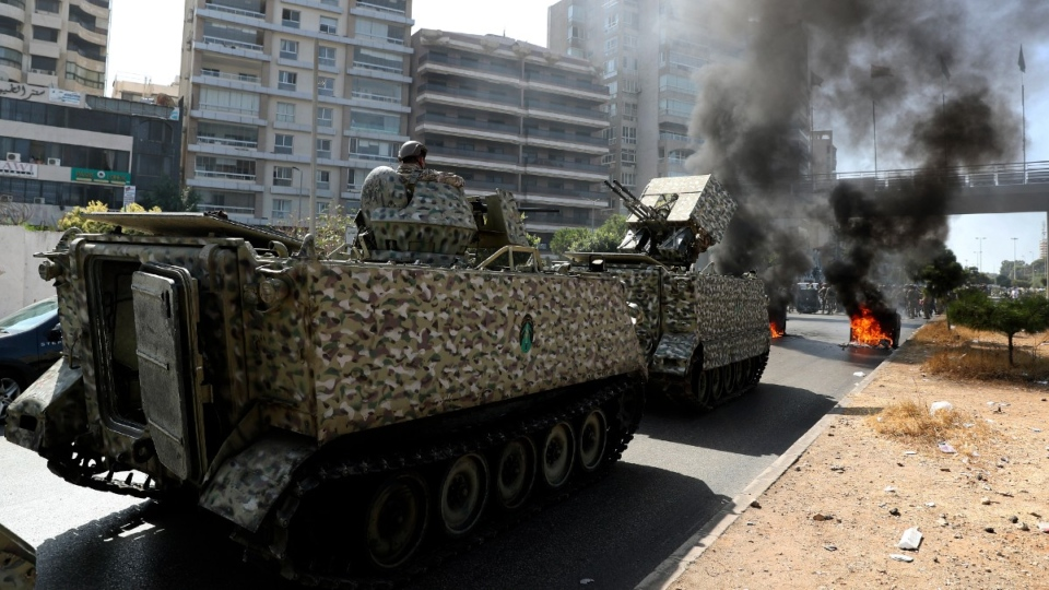 Lebanese army soldiers stand guard in Beirut