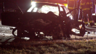 A damaged vehicle east of Chestermere, Alta. following an Oct. 13 crash on the Trans-Canada Highway that sent two people to hospital.