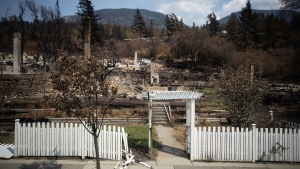 Damaged structures are seen in Lytton, B.C., on Friday, July 9, 2021, after a wildfire destroyed most of the village on June 30. (Darryl Dyck / THE CANADIAN PRESS)
