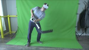 Dwayne Melcher demonstrates the Hockey VR RealStick attachment.