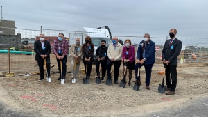 Officials put shovels in the ground as construction is underway on Waterloo International Airport's expansion project. (Stephanie Villella/CTV Kitchener)
