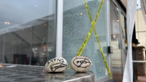 Rocks with what appear to be an anti-vaccination symbols drawn on them. (Heather Senoran/CTV Kitchener) (Oct. 14, 2021)