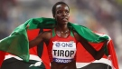 Kenyan long-distance runner Agnes Tirop is shown here celebrating winning bronze in the women's 10,000m final during the 2019 World Championships. (Alexander Hassenstein/Getty Images for IAAF)