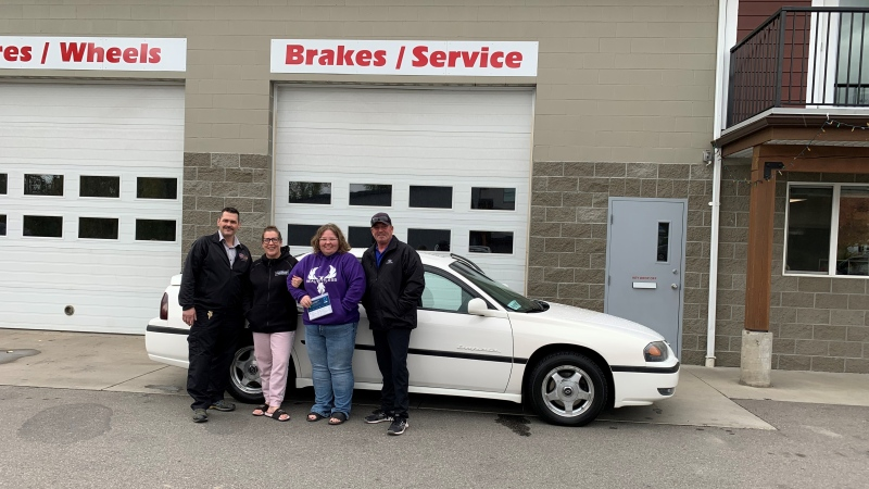 A deserving mother who is still unable to return to her Lytton home after the devastating fire this summer has been gifted a car. (Tim Miller)