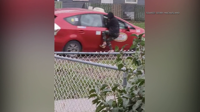 A Winnipeg woman suffered minor injuries after a taxi cab sped away with her hanging onto the side of the window Wednesday morning. (Source: Gerry McAusland)