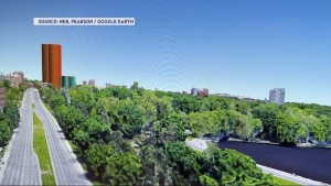 Glebe resident Neil Pearson created a 'Google Earth' rendering showing how a proposed 26-storey high-rise would change the skyline at Carling and Bronson avenues.