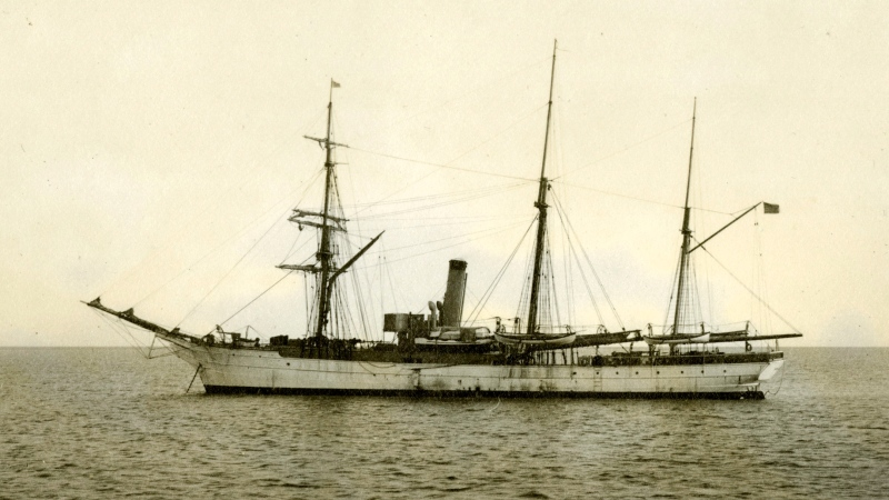 In this July 1908 photograph provided by the U.S. Coast Guard Historian's Office, the U.S. Revenue Cutter Bear sits at anchor while on Bering Sea patrol off Alaska. (U.S. Coast Guard Historian's Office via AP)