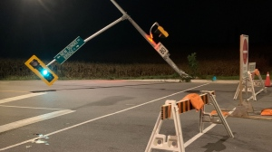 A light pole and traffic light knocked over on Trussler Road. (Jeff Pickel/CTV Kitchener) (Oct. 14, 2021)