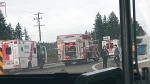 The crash happened at 2:42 p.m. when a southbound Kia collided with a northbound Ford van at the intersection of the Trans-Canada Highway and Kilmalu Road. (Submitte