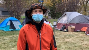 Gavin Siggelkow is one of the people experiencing homelessness and living in Pepsi Park.  (Wayne Mantyka / CTV News)