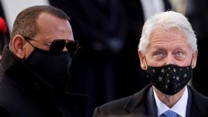 Former U.S. President Bill Clinton and former MLB baseball player Alex Rodriguez are seen ahead of President-elect Joe Biden's inauguration ceremony, Wednesday, Jan. 20, 2021, in Washington. (Jonathan Ernst/Pool Photo via AP)