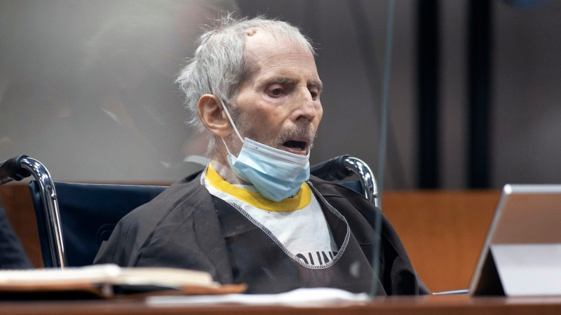 New York real estate scion Robert Durst, 78, sits in the courtroom as he is sentenced to life in prison without chance of parole, Oct. 14, 2021, at the Inglewood Courthouse in Inglewood, Calif. (Myung J. Chung/Los Angeles Times via AP, Pool)