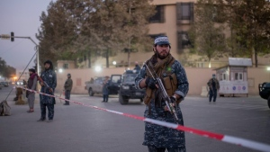 Taliban fighters guard the Serena hotel, which is popular with foreigners, in Kabul, Afghanistan, on Oct. 12, 2021. (Ahmad Halabisaz / AP)