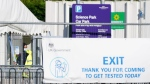 A COVID-19 testing location opposite Wolverhampton Science Park, England, where the Immensa Health laboratory is based, on Oct. 15, 2021.  (Jacob King/PA via AP)