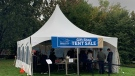 ESHC tent sale in Leamington, Ont., on Friday, Oct. 15, 2021. (Chris Campbell / CTV Windsor)