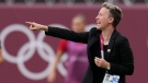 Canada's coach Bev Priestman reacts during a women's semifinal soccer match against United States at the 2020 Summer Olympics, Monday, Aug. 2, 2021, in Kashima, Japan. (AP Photo/Fernando Vergara)