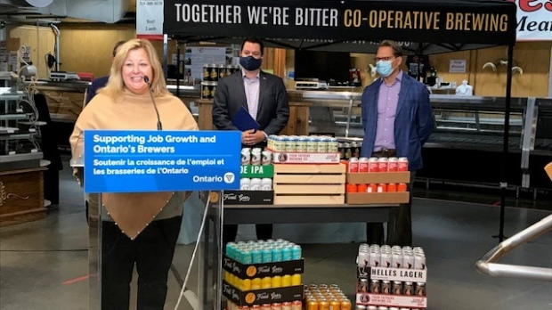 Provincial officials announced eligible Ontario brewers can now sell beer at at farmers' markets at a press conference on Friday at the St. Jacobs Farmers' Market. (CTV Kitchener)