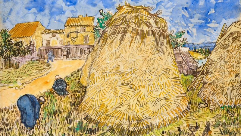"""This image, provided by Christie's, shows Vincent van Gogh's 1888 work """"Wheatstacks,"""" to be offered in the dedicated sale """"The Cox Collection: The Story of Impressionism,"""" in New York, Nov. 11, 2021. The watercolor, seized by the Nazis during World War II is estimated at $20-million to $30-million. (Christie's via AP)"""