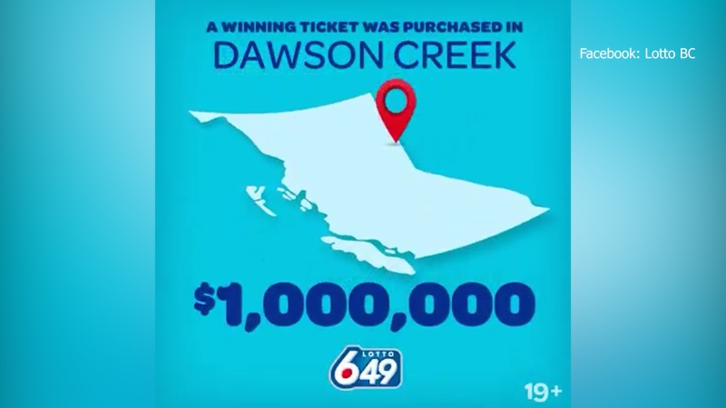 Lotto 6/49 advertisement for Dawson Creek winner