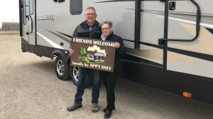 Duane and Christa Hayunga are poised to drive south this winter with their truck and RV for an extended stay in Arizona if the U.S. reopens the land border to Canadians. (Courtesy Duane Hayunga)