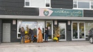 Donations for Uplifting Blessings Curbside Candy campaign are being accepted until Oct. 30, 2021, at Northern Roots Hair Salon in Orillia, Ont., and will be distributed to local shelters. (Steve Mansbridge/CTV News)