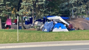 This week in Sudbury, there was an outbreak of COVID-19 in Memorial Park, where there is a growing encampment of homeless people. (Alana Everson/CTV News)