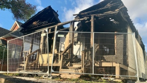 The Winnipeg Fire Paramedic Service responded to a fire on Alfred Ave. on Friday, Oct. 15, 2021. (Scott Andersson/CTV News)
