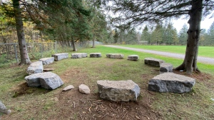 Killaloe Public School has set up outdoor classrooms, including one with 12 massive boulders donated by Valley Landscaping and Excavating. (Dylan Dyson/CTV News Ottawa)