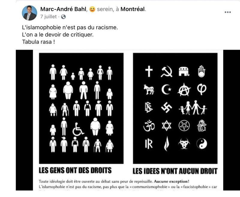 """An image posted to social media by former Mouvement Montreal candidate Marc-Andre Bahl reads """"Islamophobia is not racism""""."""