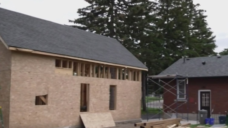 Backyard tiny home going up in Kitchener