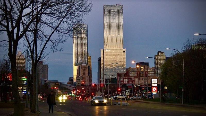 The sun sets on downtown Edmonton on May, 13, 2021 (Sean Amato/CTV News Edmonton).