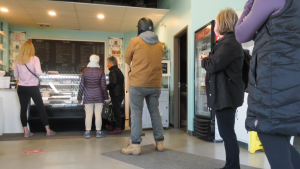 A lineup at the Bake My Day bakery in Beaumont Alta., a day after the owner went public about defying an AHS closure order (David Ewasuk/CTV News Edmonton).