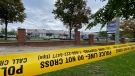 Toronto police attend the scene of a fatal shooting at a plaza on Keele Street, near Sheppard Avenue, on Oct. 16, 2021. (Scott Lightfoot/CTV News Toronto)