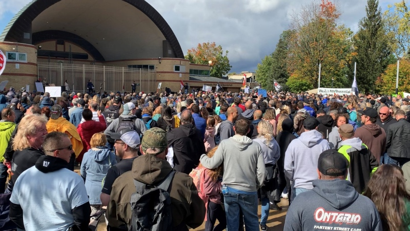 A rally is held at Victoria Park in London, Ont. on Saturday, Oct. 16, 2021. (Brent Lale / CTV News)