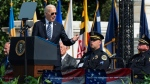 U.S. President Joe Biden speaks during a ceremony, honoring fallen law enforcement officers at the 40th annual National Peace Officers' Memorial Service at the U.S. Capitol in Washington, Saturday, Oct. 16, 2021. (AP Photo / Manuel Balce Ceneta)