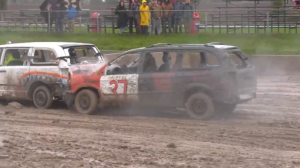 Two vehicles smash into each other as part of the demolition derby held in Thornton, Ont., on Saturday, October 16 (Chris Garry/CTV News)